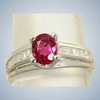 Estate 18KW Raspberry Tourmaline Diamond Ring