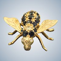 Estate 14K Diamond and Sapphire Fly Pin