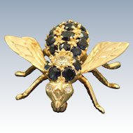 Estate 14 K Diamond and Sapphire Fly Pin