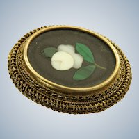 Estate 14K Pietra Dura Brooch