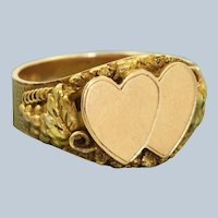 14 K Art Nouveau Double Heart Signet Ring