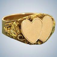 14 K Art Nouveau Double Heart Signet Ring
