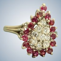 Estate 14 KW Ruby and Diamond Dinner Ring