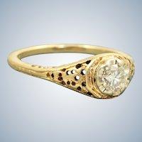 Estate 14 K 0.33 CT Old European Cut Diamond Filigree Ring