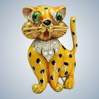 Estate 1960's 18K Enamel Diamond Leopard Brooch