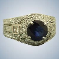 Estate 18K  5 CT Sapphire Diamond Ring