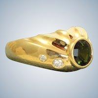 Estate Designer 18K 1.25 CT Tourmaline and Diamond Ring