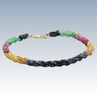 Estate 14 K Multi Gem Twisted Bracelet