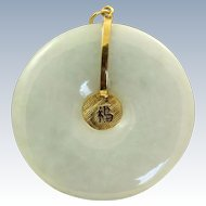 Estate 1940's 14 K Mint Green Jadeite Pendant