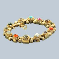 Estate 1940's 14K Multi-Gem Slide Bracelet