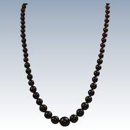 """Estate Sterling 20"""" Graduated Garnet Necklace"""