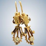 Estate 14 K 0.33 CT Diamond Etruscan Dangle Earrings