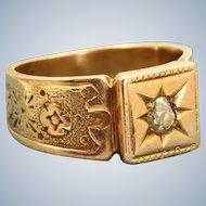 14 K Victorian Rose Gold Diamond Ring