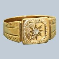 18 K 1860 Birmingham Rose Cut Diamond Buckle Ring