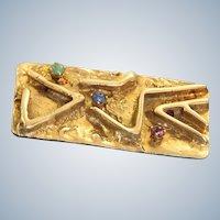 Estate 14K Mid Century Modern Ruby Emerald Sapphire Brooch/Pendant