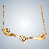 Estate 18 K 0.30 CT Diamond Chevron Necklace