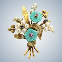 Estate 14K German 'Bouquet Brooch'