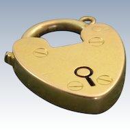 15 CT English Heart Padlock Charm/Clasp