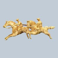 Estate 18K Steeple Chase Brooch