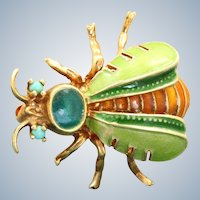 Estate 14K Four Color Enamel Turquoise Bug Pin
