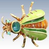 Estate 14 K Four Color Enamel Turquoise Bug Pin