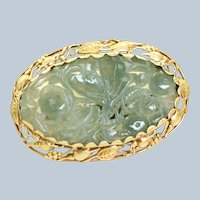 14K Art Nouveau Carved Jade Brooch