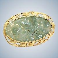 14K Art Nouveau Carved Jade Brooch