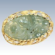 14 K Art Nouveau Carved Jade Brooch