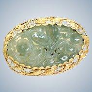 14 K Art Nouveau Carved Jade Brooch