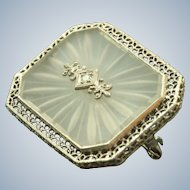 Estate 14 KW Frosted Rock Crystal Diamond Brooch