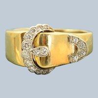 Estate 18 K/Platinum Diamond Buckle Ring