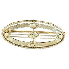 14 K/Platinum Krementz Diamond Pin