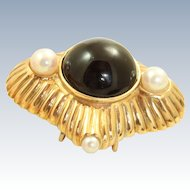 Estate 14 K Onyx Pearl Scarf Brooch