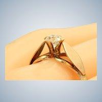 Estate 1940's Handmade 14K Rose Gold 0.55 CT Old European Cut Diamond Ring