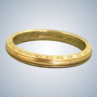 Estate 14K Earth Carved Detailed Band