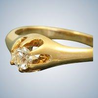 Estate 14K Belcher 0.26 CT Diamond Heritage Engagement Ring