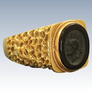 Estate 18 K Onyx Intaglio Roman Soldier Ring