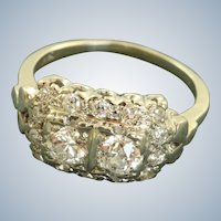 Estate 14KW 1 CT Old European Cut Diamond Cocktail Ring