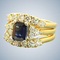 Estate Jabel 18 K/Platinum 1.2 CT Translucent Sapphire and Diamond Ring