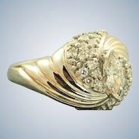14K 1960's Marquise Diamond Swirl Cocktail Ring