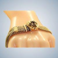 Estate 14K Mesh Tassel Enamel Slide Bracelet