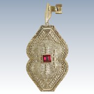 Estate 10 K/18 K Filigree Garnet Pendant