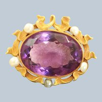 14K Carter Gough & Co Amethyst Pearl Art Nouveau Brooch