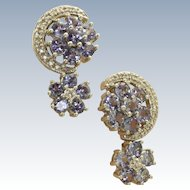 Estate 14 KW @2.4 CT Tanzanite and Diamond Earrings