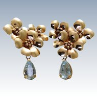Estate 14 K Rose Gold Designer Aqua Earrings
