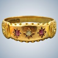 1895 Chester 15 CT Pink Stone and Diamond Band
