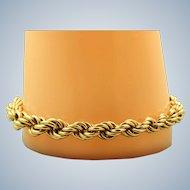 Estate 14 K Gold Large Twisted Rope Bracelet