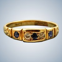 Estate 18K Diamond and Sapphire Five Stone Ring