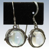 Estate Sterling Dolphin 'Pool of Light' Dangle Earrings