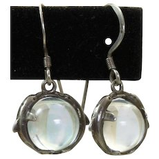 Estate Sterling Dolphin 'Pool of Light' Dangle Earrings